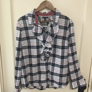 TOMMY HILFIGER red white and blue plaid button up